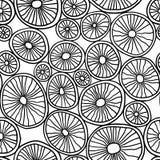Monokromma organiska rundor Stilfull struktur av naturliga celler abstrakt bakgrund tecknad hand vektor illustrationer