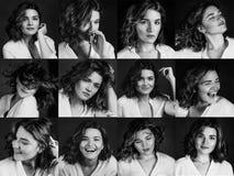 Monokromma portraites av barn, härlig kvinnaaktris med kort brunt hår som visar diggerent sinnesrörelser: lycka sorgsenhet arkivbild