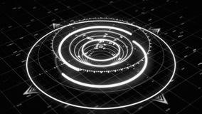 Monokromt 3d-cirkeldiagram som liknar en modern kompass med flera smala pilar och siffror på den mörka bakgrunden stock illustrationer