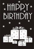 Monokromt kort för lycklig födelsedag Royaltyfri Bild