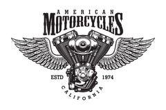Monokromt motorcykelemblem för tappning stock illustrationer