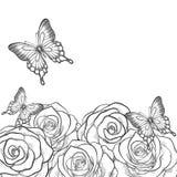 Monokromt svartvitt kort med blommarosor och fjärilar vektor illustrationer