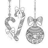 Monokromt utsmyckat julpynt, lyckligt nytt år vektor illustrationer