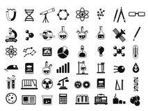 Monokromuppsättning av olika kemiska symboler och andra vetenskapssymboler i plan stil royaltyfri illustrationer