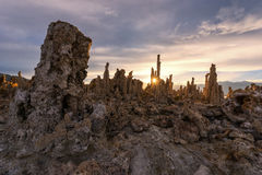 Monolake tufas, USA. Tufas rocks made of calcium carbonate deposits at Mono Lake royalty free stock image