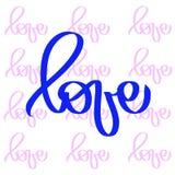 Monoline blå rosa förälskelsetappning Vektorvalentindag För feriedesign för hand utdragen valentin för beståndsdel Calligraphic f vektor illustrationer