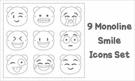 9 Monoline Smile Icons Set. NnSmile Face Icon in monoline stylencan be used for element web, pattern, etc royalty free illustration