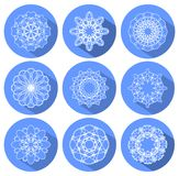 Monoline white lace patterns in circle with long shadow Royalty Free Stock Images