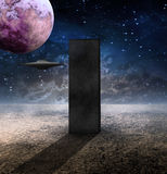 Monolith. Black Monolith and Space Craft stock illustration