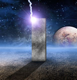 Monolith on Lifeless Planet. With Electric Energy Royalty Free Stock Images