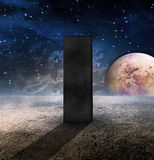 Monolith on Lifeless Planet. With moon Stock Photo