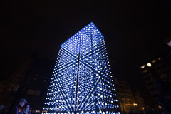 Monolith light installation powered by Mercedes-Benz by Hyperbinary at Paris street next to the Old Times Square in Prague Stock Images