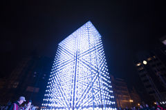 Monolith light installation powered by Mercedes-Benz by Hyperbinary at Paris street next to the Old Times Square in Prague Stock Image