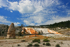 Monolith at Mammoth Hot Springs at Yellowstone Stock Images