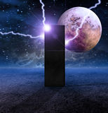 Monolith Planet. Electric Arcs strike Monolith Planet Royalty Free Stock Photography
