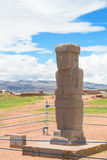 Monolith at ruins of Tiwanaku, Bolivia Royalty Free Stock Photos
