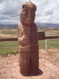 Monolith of Tiwanaku worn by time. royalty free stock images