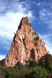 Monolith Tower in Garden of the Gods. A Beautiful red towering monolithic rock spire in the heart center of the Garden of the Gods Park in Colorado Spirings stock photography