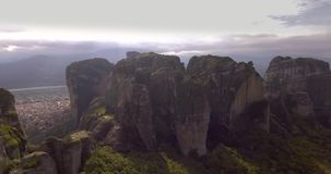 Monolithic pillars in Meteora, Greece stock video footage