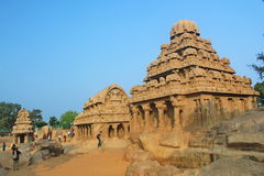 Monolithic rock cut Five Rathas at Mahabalipuram, India Royalty Free Stock Images