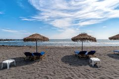 Monolithos beach - Aegean sea - Santorini island - Greece. View of Monolithos beach - Aegean sea - Santorini island - Greece royalty free stock image