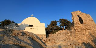 Monolithos Castle Church Royalty Free Stock Photos