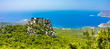 Monolithos Castle Rhodes. Overlooking the Venetian Castle at Monolithos built in 1480 by the Knights of Saint John, Rhodes Greece Europe royalty free stock photos