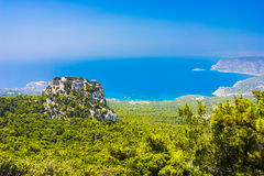 Monolithos Castle Rhodes. Overlooking the Venetian Castle at Monolithos built in 1480 by the Knights of Saint John, Rhodes Greece Europe stock photography