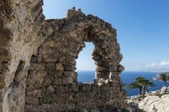 Monolithos Castle ruins. Rhodes, Greece Royalty Free Stock Photo