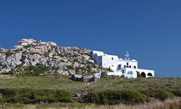 Monolithos church at Santorini, Greece Stock Photos