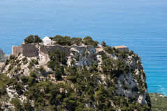 Monolithos fortress. On the island of Rhodes in Greece Royalty Free Stock Images