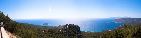 Monolithos kasztelu panorama Zdjęcie Stock