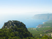 Monolithos knights castle Royalty Free Stock Photography