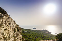 Monolithos view over the sunny sea Stock Photo
