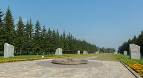 Monoliths of granite on the Road of War with carved years and military episodes. Park of Culture and Rest named after Royalty Free Stock Images