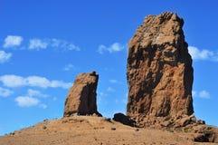 Monolito de Roque Nublo en Gran Canaria, España Imagenes de archivo