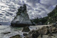 Monolito della roccia dell'arenaria, baia della cattedrale, coromandel, Nuova Zelanda 13 Immagine Stock Libera da Diritti