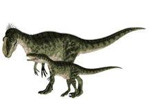 Monolophosaurus adulto e novo ilustração stock