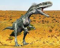 Monolophosaurus a détruit le désert Photos libres de droits