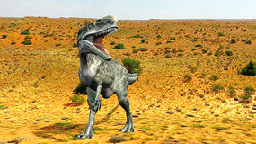 Monolophosaurus desert. Monolophosaurus (meaning single-crested lizard) was a genus of theropod dinosaur from the Middle Jurassic (about 170 Ma) of the Royalty Free Stock Photos