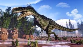 Monolophosaurus dinosaur - 3D render Royalty Free Stock Photo