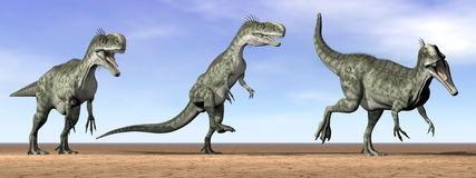 Monolophosaurus dinosaurs in the desert - 3D render Stock Photos