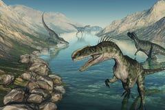 Monolophosaurus Dinosaurs Exploring. Several Monolophosaurus dinosaurs explore a stream - 3D render Stock Photos