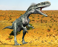 Monolophosaurus lost desert. Monolophosaurus (meaning single-crested lizard) was a genus of theropod dinosaur from the Middle Jurassic (about 170 Ma) of the Royalty Free Stock Photos