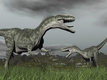 Monolophosaurus roaring - 3D render Royalty Free Stock Images