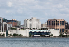 Monona Terrace. Skyline of Madison, Wisconsin featuring the Monona terrace building stock image