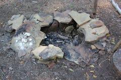 Monongahela文化印地安人村庄的模件厨房 免版税库存图片