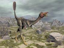 Mononykus dinosaur in the desert - 3D render Stock Photo