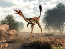 Mononykus dinosaur in the desert - 3D render Royalty Free Stock Photos