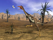 Mononykus dinosaur hunting - 3D render Royalty Free Stock Images